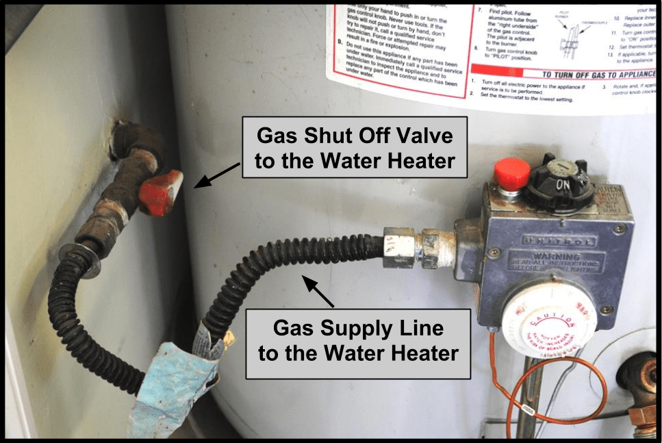 how to turn off the gas supply to the water heater