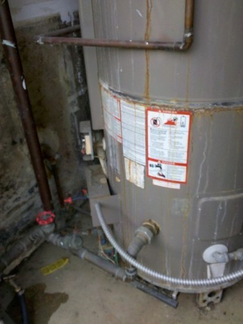 a leaking water heater commerical